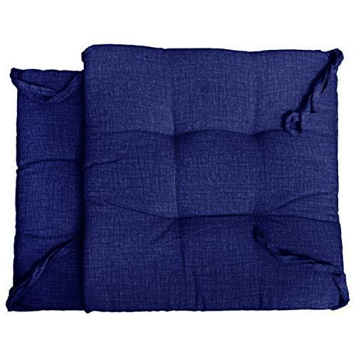 Russo tessuti 6 cuscini sedie cucina coprisedia imbottiti laccetti vari colori tinta unita-blu elettrico