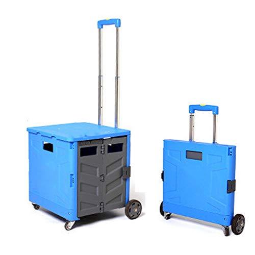 NBLYW Zusammenklappbarer Handwagen mit Deckel, Faltbare Kunststoffkiste, Teleskoplenkräder, Rollwagen, Hochleistungs-Leichtgewichtler mit Einer Tragfähigkeit von 80 kg