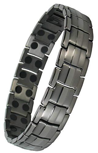 MPS® Europe Gunmetal Titan magnetische Armband für Männer mit Klappschließe - Mit Einer Kostenlosen Tool, um Links zu entfernen - Mit gratis Geschenk Beutel
