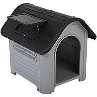 Plástico de alta calidad–Caseta de perro fácil de montar adecuado tanto para interiores y exteriores, fácil de limpiar con un montón de rejillas de aire–perfecto para perros con alergias