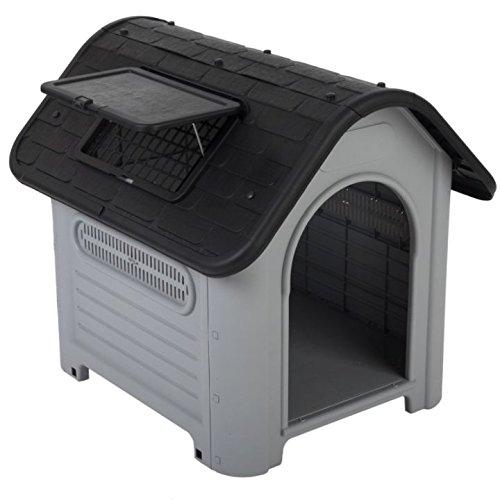 Plástico de alta calidad-Caseta de perro fácil de montar adecuado tanto para interiores y exteriores, fácil de limpiar con un montón de rejillas de...