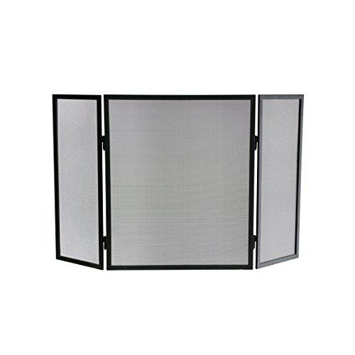 Kamino Flam Funkenschutzgitter, Kamingitter aus pulverbeschichtetem Eisen, Kaminfunkenschutzgitter in der Farbe Schwarz, Schutzgitter mit klappbaren Seitenteilen, Maße: ca. 96,5 x 2 x 61 cm
