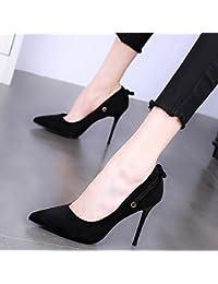 KPHY-Puntiagudo 10 Cm Zapatos De Tacon Alto Delgado Y Poco Profundo De Moda Zapatos De Mujer La Primavera Sexy Una Palabra Hebilla Mujeres Famosas Mujeres Con Zapatos. Treinta Y Siete Black