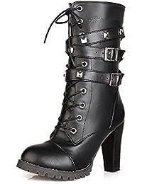 SHOWHOW Damen Nubukleder Halbschaft Stiefel Mit Absatz Chelsea Boots Grau 37 EU