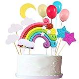 Ensemble de Cupcake Topper, Comprenant Cupcake Topper en Forme d'Arc-en-Ciel Nuage Lune Étoile Ballon pour Décoration de Gâteau d'Anniversaire Mariage Fête
