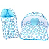 RBC RIYA R Baby Mattress With Mosquito Net & Sleeping Bag Combo 0-6 Months (0-6 Months, Blue Dot)