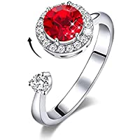 MXIN Rings for Women Rotating Birthstone Embellished with Crystals from Swarovski for Girls Womens Birthday Mothers Day Jewelry Gifts White/Rose Gold Plated Adjustable Size 5-9 (12 Color)