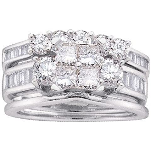 14 kt oro bianco 2.00 DWT diamante Invisible Set Bridal Wedding Ring