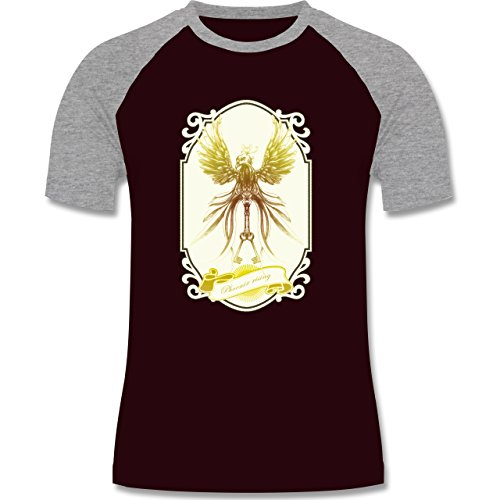 Vintage - Phoenix rising - zweifarbiges Baseballshirt für Männer Burgundrot/Grau meliert