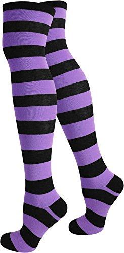 normani® Damen Overknees Über-Knie Strümpfe geringelt in verschiedenen Farben Farbe Schwarz/Lila