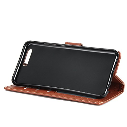 Custodia per Huawei P10, ISAKEN Flip Cover per Huawei P10 con Strap, Elegante Bookstyle Contrasto Collare PU Pelle Case Cover Protettiva Flip Portafoglio Custodia Protezione Caso con Supporto di Stand Mrrone