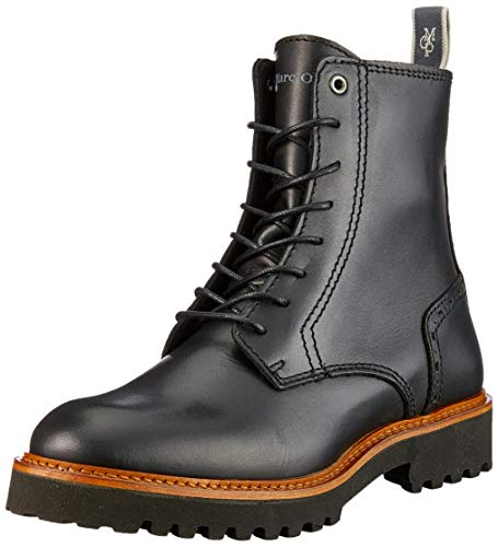 Marc O'Polo Damen Lace Flatheel Bootie Stiefeletten, Schwarz (Black 990), 41 EU
