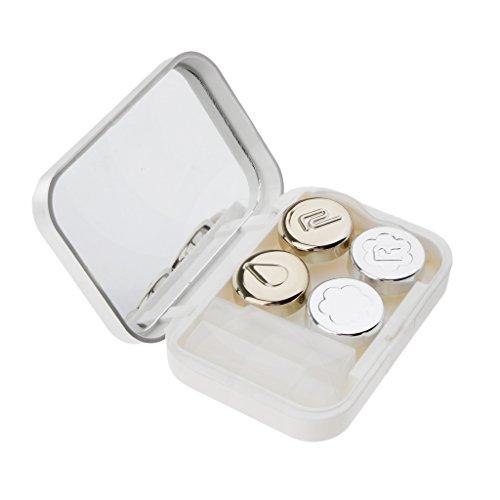 MagiDeal Étuis Lentilles de Contact Brucelles Miroir Voyage Kit Stockage Flacon Pincettes - Blanc