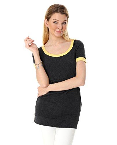 GoFutureWithLove - T-Shirt - Femme Grafit mit gelben Bündchen