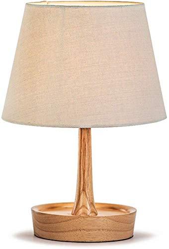Clásico de la Moda Lámpara de Mesa de Madera Tela Shade Dormitorio ...