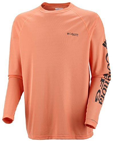 Columbia Men's Terminal Tackle Long Sleeve Polo, Large, Bright Peach/Grill Logo