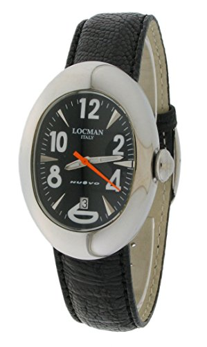 Locman Nuovo / orologio donna / quadrante nero / cassa acciaio / cinturino pelle nera