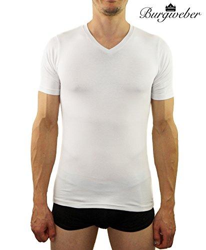 Burgweber Herren Business Unterhemd 4er Pack Weiss V-Ausschnitt Kurzarm Extra Langer Rücken Stretch (95% Baumwolle, 5% Elasthan) T-Shirt Shirt Slimfit