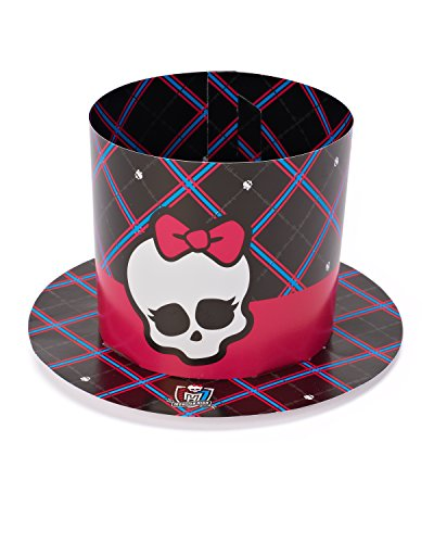 Freaky Fab Monster High Mini Top Hat Paper Birthday Party Hat Wearable Favour (1 Piece), Multi Color, 8 1/2
