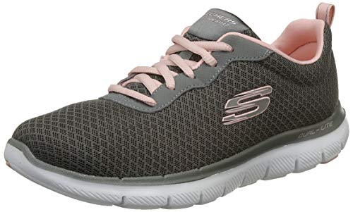 Skechers Women's Flex Appeal 2.0-Newsmaker Gray and Light Pink Sneakers-5 UK (8 US) (38 EU) (12775-GYLP)