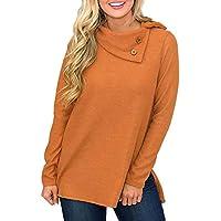 Hanomes Damen pullover, Mode Frauen Skew Kragen Solid Botton Langarm Sweatshirt Pullover Bluse preisvergleich bei billige-tabletten.eu