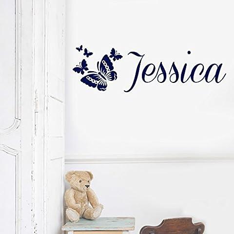 Sticker mural pour enfant filles papillon Nom ou porte personnalisée–Art