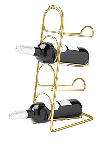 Hahn 18270045 Pisa Weinregal für 4 Flaschen, Stahl, goldfarben