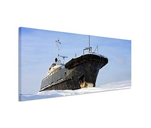 Kunstdruck auf Leinwand 150x50cm Landschaftsfotografie – - Eisbrecher Frost