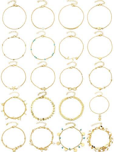 oho Fußkettchen Ketten Armbänder Frauen Einstellbare Strand Fußkettchen Fußschmuck Set für Mädchen (Gold) ()
