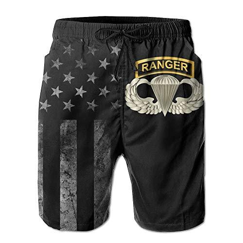 Airborne Tab (Airborne Badge Ranger Tab mit amerikanischer Flagge Strandshorts für Herren Badehose - Badeanzug Athletic Shorts L)