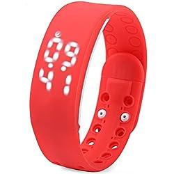 Leopard Shop TVG KM i - YOUTH Sport Wristwatch Multifunctional Unisex LED Digital Watch Calendar Magnetic Temperature Detecting Red