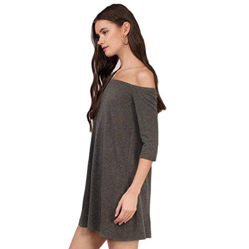 Bekleidung Longra Damen Strapless lässige Kleidung locker Damen Baumwolle Party Abend Minikleid Brown