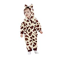 Elonglin Unisex Newborn Infant Baby Hooded Winter Romper Animal Jumpsuit Cotton Fleece Pajamas Boys Girls Long Sleeves Sleepwear Snowsuit Outfits