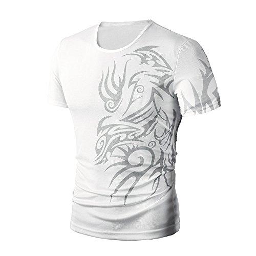 Bekleidung Loveso Männer Tee Sommerkleider Strene Herren Mode Cool Clouds Muster Einfach Stil Kurzarm Slim Fit Sports Casual T-shirt Tops Bluse ((Größe):36 (M), Weiß) (Disney Familie T Shirts)
