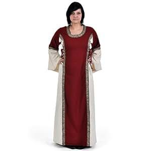 Tyra - Vestito medievale da donna con ricche bordature e lacci su tre zone - Sagomato - Rosso e bianco - S