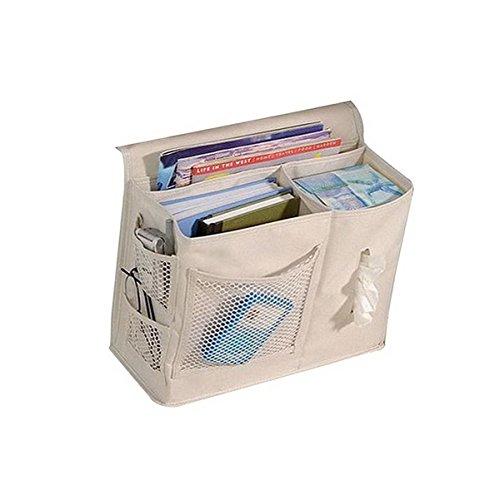 ACMEDE Bett Organizer Nachttischtasche Ordnungssysteme zum Aufhängen Tasche mit 6 Fächer für Armbanduhr,Handy,Sonnenbrille,magaazines,Beige (Mal-armbanduhr)