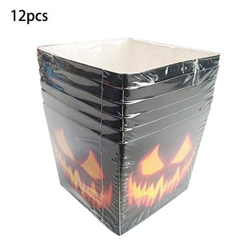 Popcorn Muster Kostüm - Lisanl Halloween-Popcorn-Boxen, Partyzubehör, Kürbis-Flamm-Muster, 12 Stück