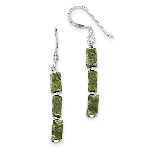 Lex & Lu - Pendientes de plata de ley con piedra de serpentina verde rus