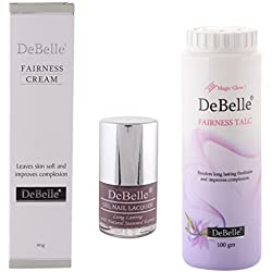 DeBelle Beauty Kit of DeBelle Fairness Cream 80g & DeBelle Fairness Talc 100g and DeBelle Nail Polish (Mauve)