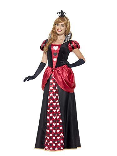 Smiffys 45489X2 - Damen rote Königin Kostüm, Kleid und Krone, Größe: 52-54, rot
