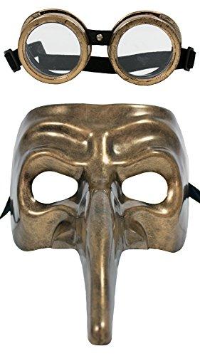 Zoelibat Steampunk Schnabelmaske Pestmaske mit Fliegerbrille - Bronze - Unheimliche Halbmaske für Steampunk und Mittelalter Fans für Halloween, Fasching oder Mottoparty (Fliegerbrille Halloween-kostüme Mit)