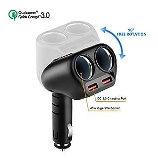 Rocketek KFZ Ladegerät [QC 3.0], 12V Auto USB Adapter KFZ Power Verteiler für 12V/24V KFZ, Schnellladung 3.0 Zwei USB Anschluss + Zwei Zigarettenanzünder Splitter für iPhone iPad Android Samsung GPS