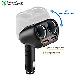 Rocketek Quick Charge 3.0 Chargeur de Voiture, Multiprise Chargeur Allume Cigare 12V/24V 2 Ports USB 3.1A + 2 Prises Adaptateur Allume-Cigare pour iPhone,Samsung,Huawei,iPad,Tablets,Android et Plus…