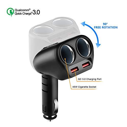 Rocketek Quick Charge 3.0 Caricabatteria per Auto, 120W 12V/24V USB Accendisigari Auto 2 Porta USB QC3.0 & 2 Accendisigari Multifunzione Auto Adattatore per iPhone, Android Samsung, GPS, Dash Cam