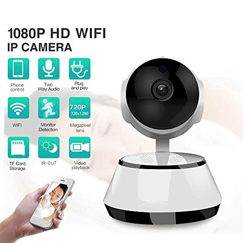 720P HD Dome 360 ° Wireless WiFi Monitor Safety Home Security Surveillance IP Cloud Cam Night Vision Camera für Baby Pet Android iOS-Apps,1080P Night-vision-security-cam
