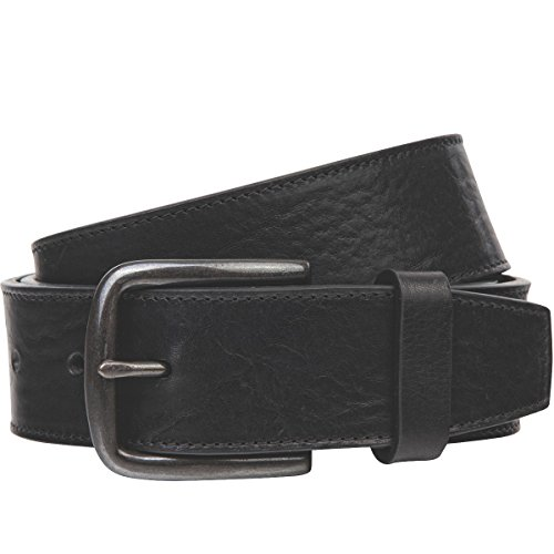 Lindenmann The Art of Belt Womens leather belt/Mens leather belt, full grain leather belt with stitching, Unisex, black