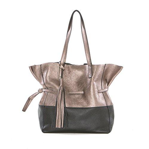 fd8956af6d395 Arcadia Designer Kiara Große Metallic-Hobo-Tasche aus Leder Bronze und  Schwarz