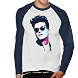 Coto7 Geometric Celebrity Bruno Mars Men's Baseball Long Sleeved T-Shirt
