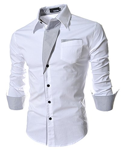 Fashion Designer Dress Shirts for Men Long Sleeve Slim Fit Casual Formal Contrast Collar