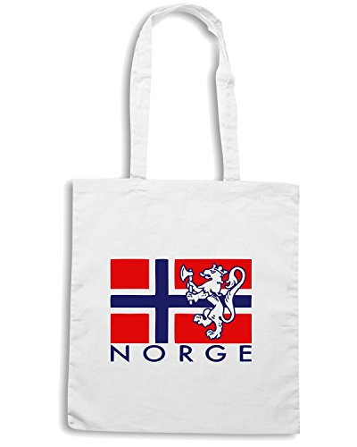 T-Shirtshock - Borsa Shopping TSTEM0071 norge flag mens Bianco